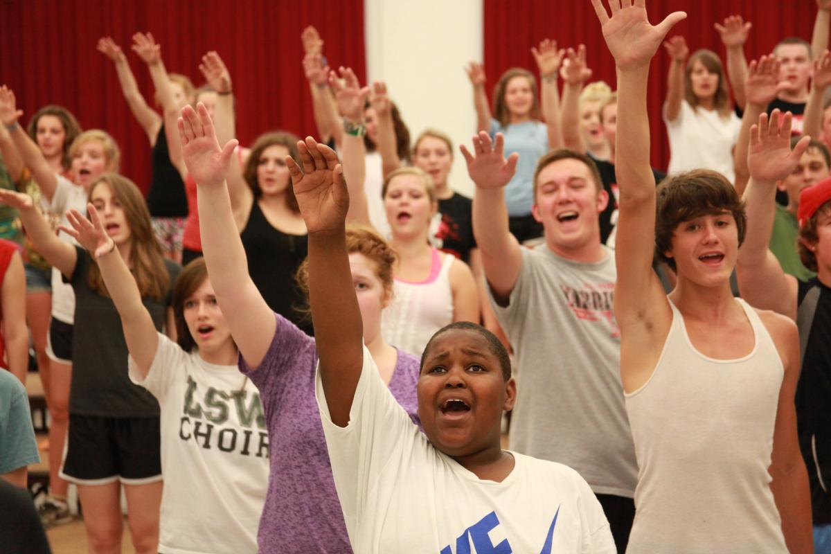 Photo of show choir camp rehearsal in the Westbrook building
