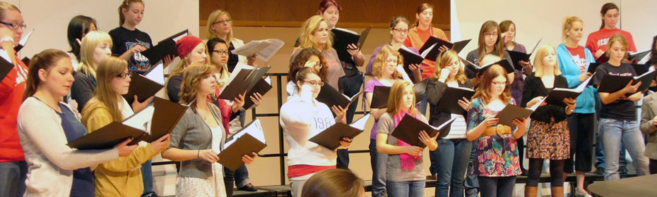 Rehearsal image from Women's Chorale