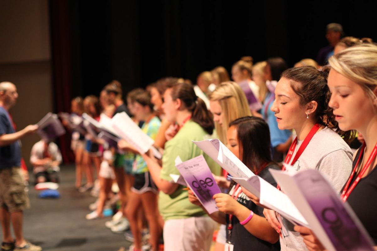 Photo of show choir camp rehearsals in Kimball Hall