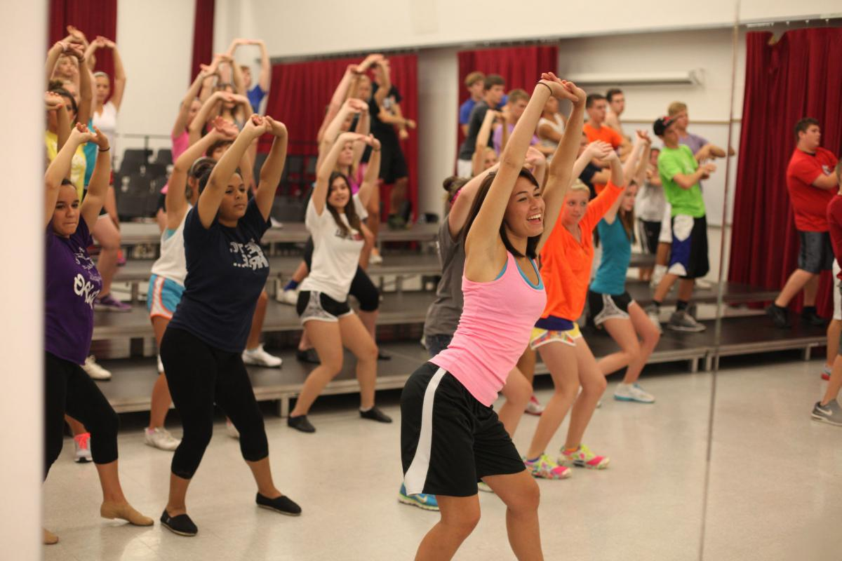 Photo of show choir camp choreography rehearsal in the Westbrook building