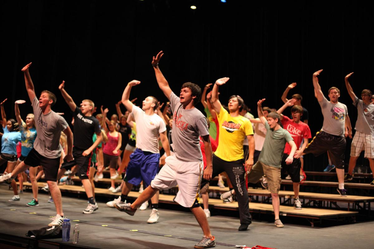 Photo of show choir camp rehearsal in Kimball Hall
